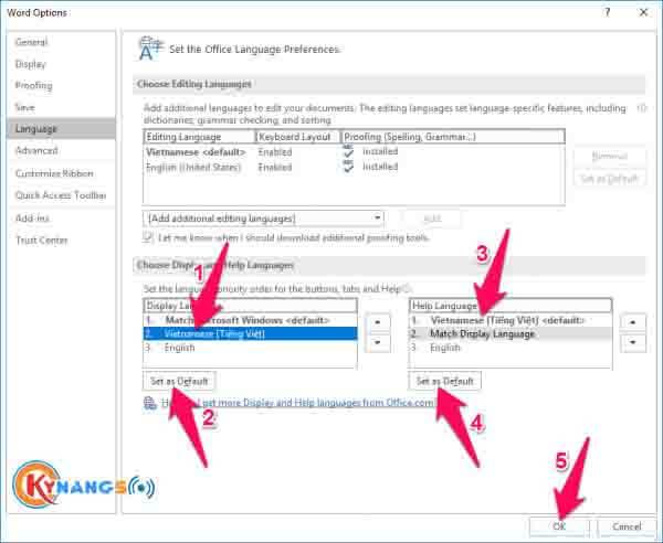 Bước 8 Hướng dẫn cài đặt tiếng việt cho Office 2016 - Hướng dẫn cách cài đặt ngôn ngữ tiếng Việt cho Office 2016