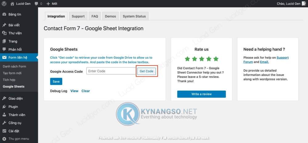 Huong dan ket noi Contact Form 7 voi Google Sheet trong Wordpress STEP2 - Hướng dẫn kết nối Contact Form 7  với Google Sheet trong Wordpress