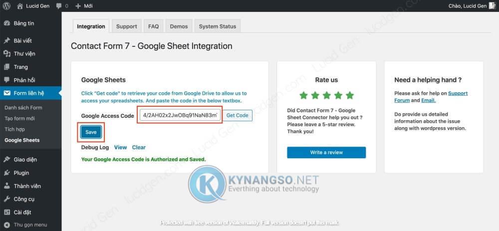 Huong dan ket noi Contact Form 7 voi Google Sheet trong Wordpress STEP5 - Hướng dẫn kết nối Contact Form 7  với Google Sheet trong Wordpress