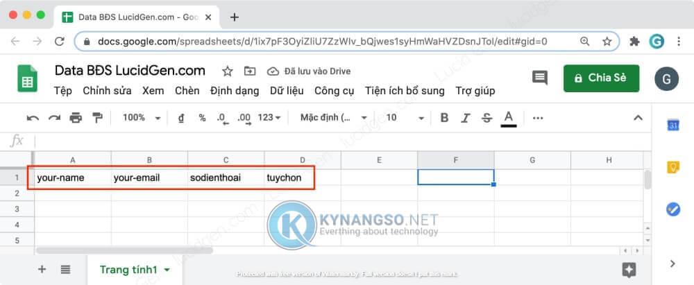 Huong dan ket noi Contact Form 7 voi Google Sheet trong Wordpress STEP8 RESULT - Hướng dẫn kết nối Contact Form 7  với Google Sheet trong Wordpress