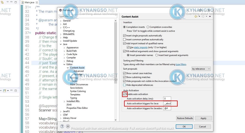 Thiet lap Eclipse tu dong goi y code khong can nhan Ctrl Space 2 - Thiết lập Eclipse tự động gợi ý code không cần nhấn Ctrl + Space
